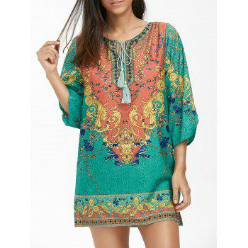 Baroque Print Tunic Dress with Tassel