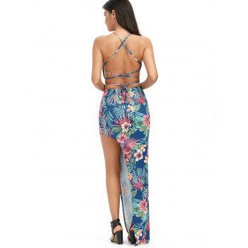Palm Floral Crop Top with High Slit Skirt - multicolor M