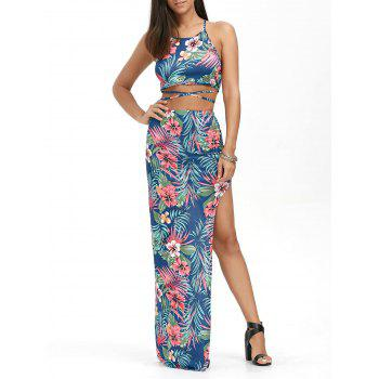 Palm Floral Crop Top with High Slit Skirt