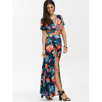 Floral Print Wrap Top with Maxi Skirt - S S