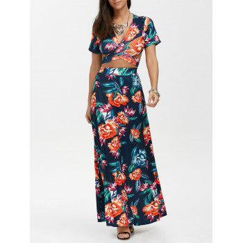 Floral Print Wrap Top with Maxi Skirt