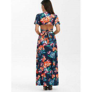 Floral Print Wrap Top with Maxi Skirt - XL XL