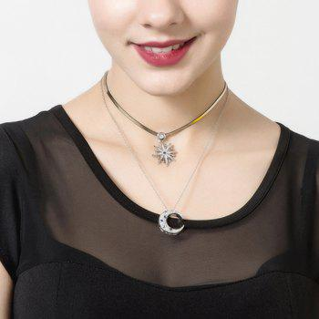 Rhinestoned Moon Layered Necklace