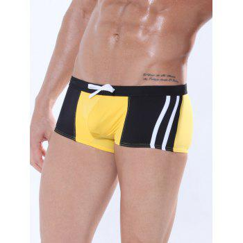 Drawstring Color Block Panel Design Swimming Trunks