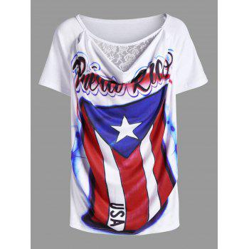 Cowl Neck Lace Panel American Flag Airbrush T-Shirt