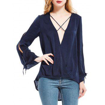 Plunging Neck High Low Split Sleeve Blouse - PURPLISH BLUE M