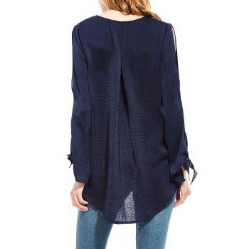 Plunging Neck High Low Split Sleeve Blouse - L L