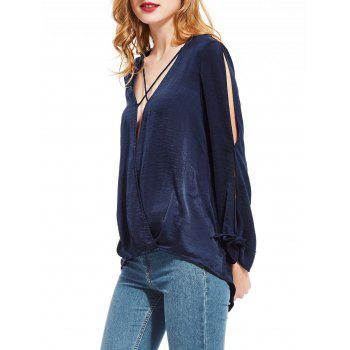 Plunging Neck High Low Split Sleeve Blouse - XL XL