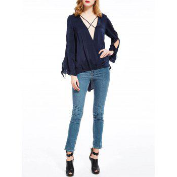 Plunging Neck High Low Split Sleeve Blouse - PURPLISH BLUE PURPLISH BLUE