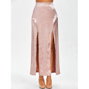 Elastic Waist Satin High Slit Maxi Skirt
