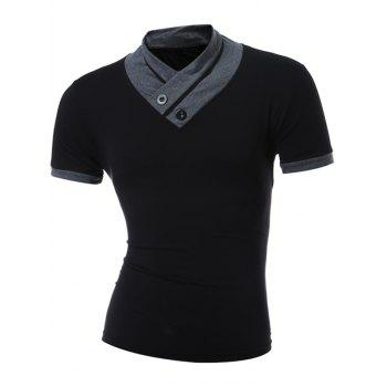 Button Embellished Stand Collar Short Sleeve T-Shirt