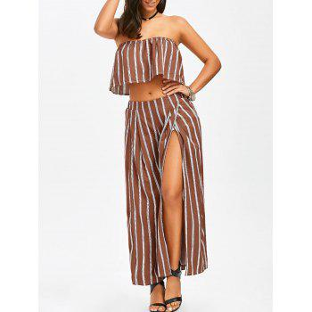 Strapless Ruffle Crop Top and Slit Wide Leg Pants