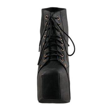 Stylish Casual PU Leather Solid Color Lace-Up Design Women's Platform Boots - BLACK 37