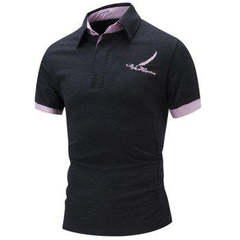 Color Block Embroidered Polo Shirt