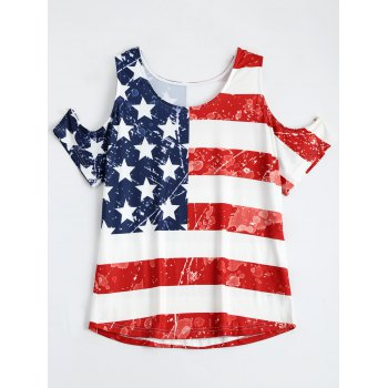 American Flag Print Cold Shoulder Patriotic T-Shirt