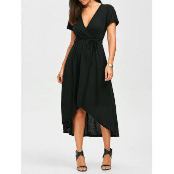 Plunging Neck A Line High Low Casual Surplice Dress