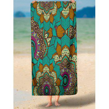 Mandala Print Rectangle Milk Silk Fabric Beach Throw - GREEN GREEN
