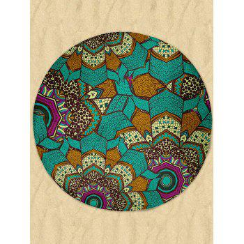 Round Milk Silk Fabric Beach Throw with Mandala Print - GREEN