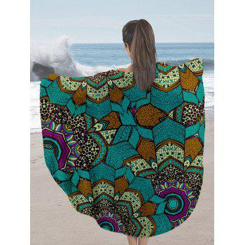 Round Milk Silk Fabric Beach Throw with Mandala Print