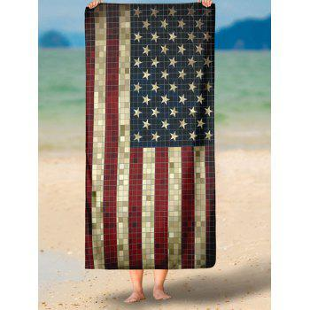 Vintage Mosaic Patriotic American Flag Print Beach Throw - multicolorCOLOR XS