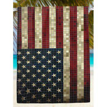 Vintage Mosaic American Flag Print Beach Throw - Bleu 2XL