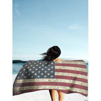 Vintage Mosaic Patriotic American Flag Print Beach Throw