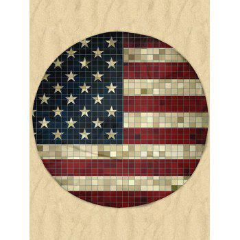 Round Mosaic Patriotic American Flag Milk Silk Fabric Beach Throw