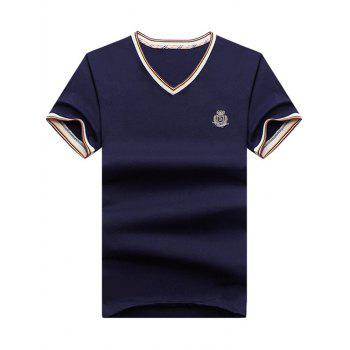 Contrast Trim Letter Patch V Neck T-Shirt