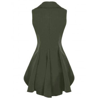 Double Breast Lapel High Low Dressy Waistcoat - ARMY GREEN ARMY GREEN