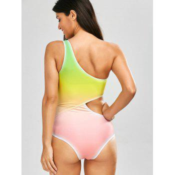 One Shoulder Ombre One Piece Swimsuit - YELLOW XL