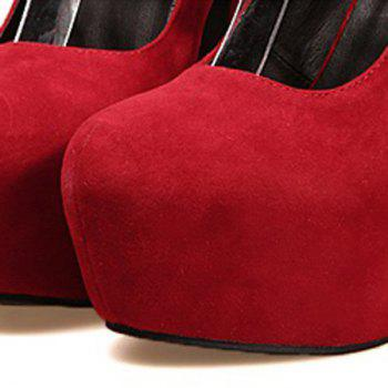Laconic Party Solid Color and Cross Straps Design Women's Pumps - RED 37