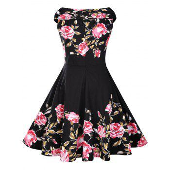 Rose Print 50s Sleeveless Dress - 2XL 2XL