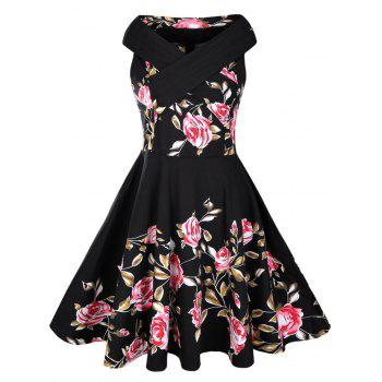 Rose Print 50s Sleeveless Dress - BLACK 2XL
