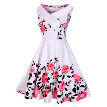 Rose Print 50s Sleeveless Dress
