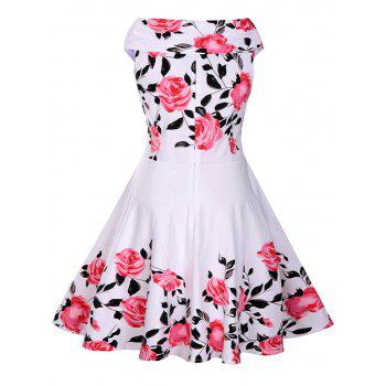 Rose Print 50s Sleeveless Dress - WHITE WHITE