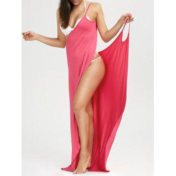 Beach Maxi Wrap Slip Dress - WATERMELON RED WATERMELON RED