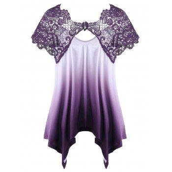 Plus Size Lace Trim Ombre Asymmetric T-Shirt - PURPLE 5XL