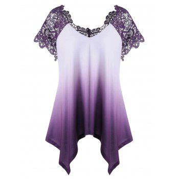 Plus Size Lace Trim Ombre Asymmetric T-Shirt