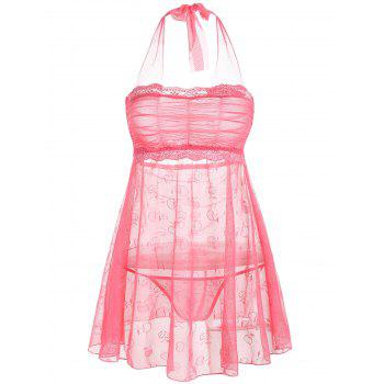 Mesh See Thru Halter Intimate Dress - DEEP PINK ONE SIZE
