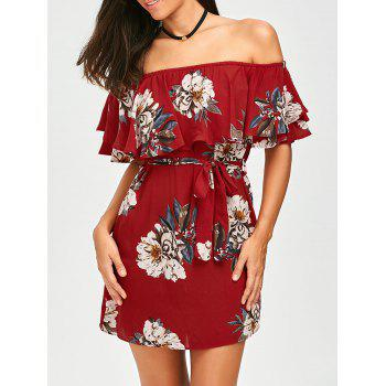 Flounce Off The Shoulder Belted Dress