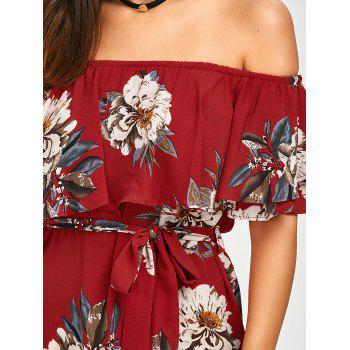 Flounce Off The Shoulder Belted Dress - RED XL