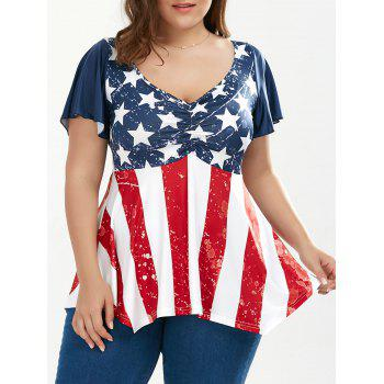 Ruched Plus Size Patriotic Tunic American Flag Top