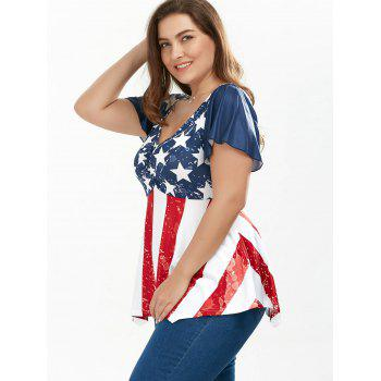 Ruched Plus Size Patriotic Tunic American Flag Top - COLORMIX 5XL