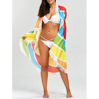 Fringed Rainbow Round Beach Throw - COLORMIX ONE SIZE