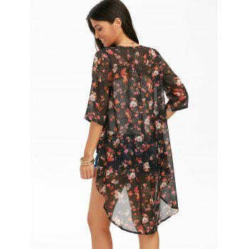 High Low Hem Chiffon Long Floral Kimono - BLACK 2XL