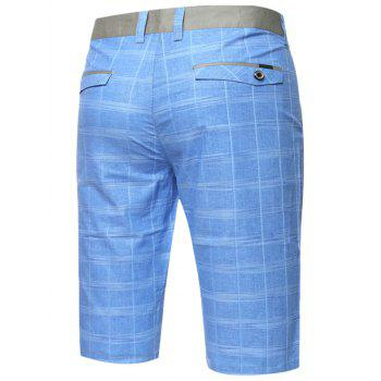 Zipper Fly Plaid Bermuda Shorts - Bleu Ciel 32