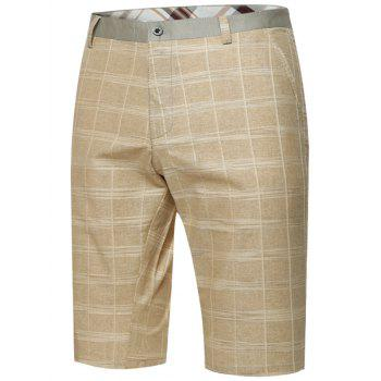 Zipper Fly Plaid Bermuda Shorts - KHAKI KHAKI