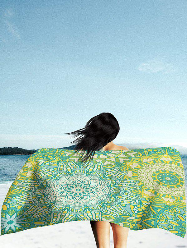 Rectangle Mandala Print Beach Throw - GREEN M