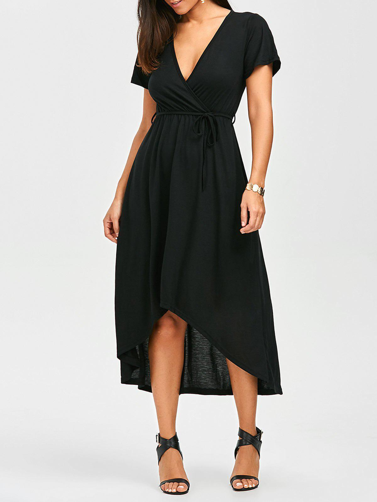 Plunging Neck A Line High Low Casual Surplice Dress - BLACK XL