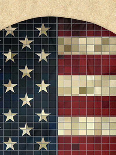 Round Mosaic Patriotic American Flag Milk Silk Fabric Beach Throw - multicolorCOLOR